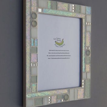 Mosaic Picture Frame, Large, 8 x 10 Picture Size White + Iridescent + Silver Mirror + 3D Nuggets Handmade Stained Glass Mosaic Picture Frame
