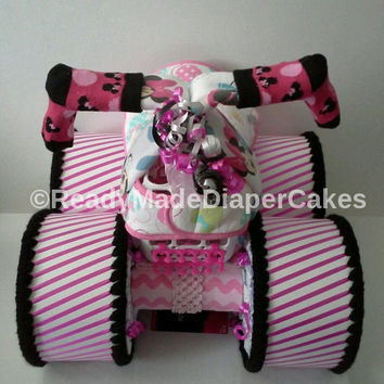 Pink Disney Minnie Mouse inspired four wheeler baby shower diaper cake table centerpiece or baby girl sprinkle gift