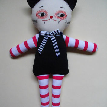 CAT MONSTER PLUSHIE - Handmade soft toy monster cat plush toy - Made to Order