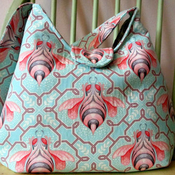 Medium Shoulder Bag , Tula Pink Purse ,  Blue And Pink , Shoulder Bag With Pockets