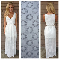 White Diamond Lace Maxi Dress