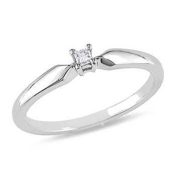 Princess-Cut Diamond Accent Solitaire Promise Ring in Sterling Silver - Save on Select Styles - Zales