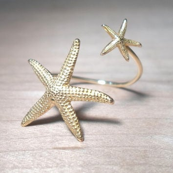 Starfish Ring Double Wrap Mermaid Statement Ring- Gold Double Shaped Ring
