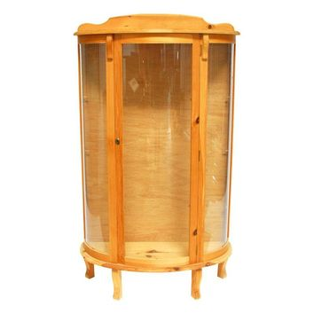 Pre-owned Pine Bow Front Curio Display Cabinet