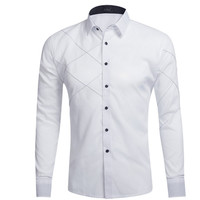 New Fashion Mens Shirt Dress Long Sleeve Solid Color Men's Clothing Casual Male