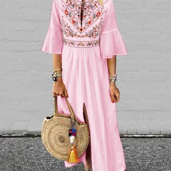 New Pink Embroidery Pleated Front Slit Bell Sleeve Mexico Bohemian Beachwear Maxi Dress