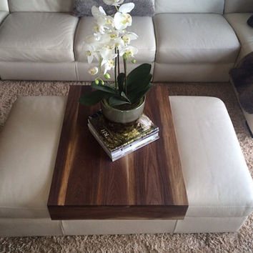 Walnut Ottoman Tray   Wood Ottoman Wrap Tray   TV Tray Table