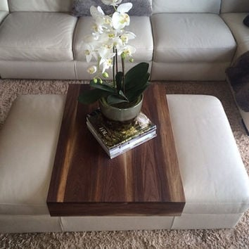Walnut Ottoman Tray  - Wood Ottoman Wrap Tray - TV Tray Table