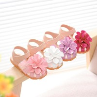 Summer new flower princess girls shoes baby child toe cap covering girls sandals size 21-30