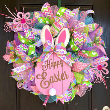 Easter wreath, Spring mesh wreath, Welcome Spring deco mesh wreath, Spring deco mesh wreath, Bunny wreath, Front door wreath