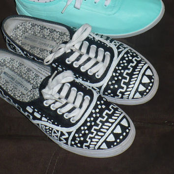black and white tribal print shoes