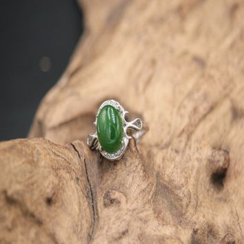 Green Chalcedony Ring / 925 Sterling Silver Ring / Chalcedony Jewelry / Chalcedony Ring / 925 Silver Jewelry