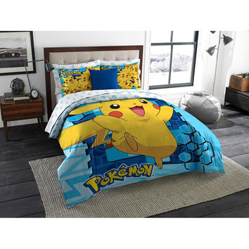 Pokemon Big Pika  Twin-Full Comforter with 2 Pillow Shams