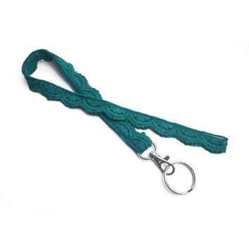 Teal Scalloped Lace Lanyard