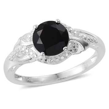 Black Spinel Sterling Silver Solitaire Ring