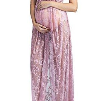 Yomoko Maternity Lace Gown Split Front Maxi Photography Dress for Pregnant Photo Shoot Party Dress