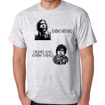 Jon Snow Knows nothing Tyrion lannister drinks and know things Men's T-Shirt