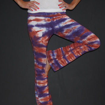 Tie Dyed Fold Over Yoga Pants in Horizontal Roll Effect in Deep Purple and Terra Cotta