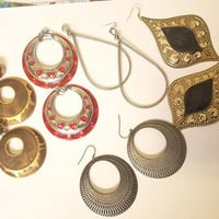 large vintage metal big earrings lot 5 pairs dangles hoops teardrops red silver gold jewelry