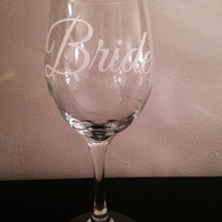 Bride wine glass. Wedding wine glass. Bridal wine glass. Reception wine glass