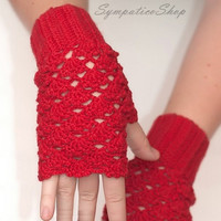 Valentine's Day, Gift ideas For Her, Cozy Fingerless Gloves, Red Wool, Crochet Mittens, Arm Warmers, Women's Hand Warmers, Wrist Warmers