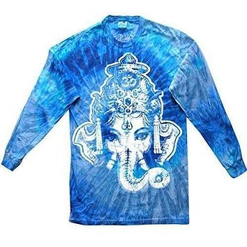 Yoga Clothing for You Mens Big Ganesha Long Sleeve Tie Dye Tee Shirt