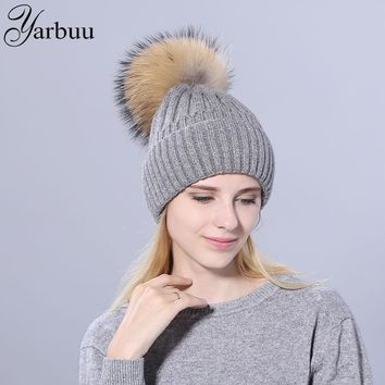 [YARBUU] winter hats for women mink fur ball pom poms beanies girl autumn beanie caps warmer bonnet ladies casual cap female hat