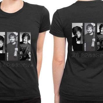 DCCKL83 Ed Sheeran Three Photo 2 Sided Womens T Shirt