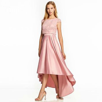 Asymmetry dresses pink cap sleeves ankle length a line gown lady lace party formal long dress