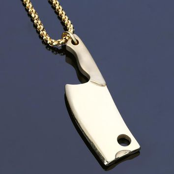 QIYIF steel gold knife Necklace