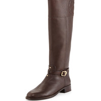 Marlene Leather Riding Boot, Coconut - Tory Burch