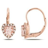 10k Rose Gold Morganite and Diamond Heart Leverback Earrings, (0.14 cttw, G-H Color I2-I3 Clarity)