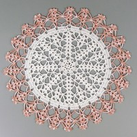 Crocheted Off White Variegated Light Brown Doily