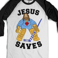Jesus Saves (Hockey Edition)-Unisex White/Black T-Shirt