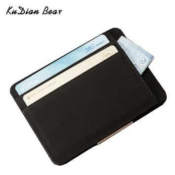 KUDIAN BEAR Nubuck Leather Men Wallet Magic Designer Male Wallets Small Purse Slim Card Holder Carteira Masculina BID223 PM49