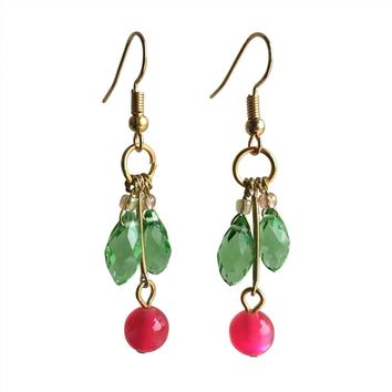 2017 New Pattern Handmade Earrings Eardrop Gold Color Alloy Fashion Waterdrop Crystal Hook Earring Danglers Women Accessories