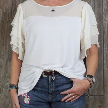 Cute Soft Surrounding Blouse 1x size White Ivory Soft Stretch & Layered Sleeve