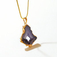Purple Druzy  Dipped in Gold  Pendant  Chainmaille Necklace, Purple Druzy Titanium Quartz Agate Gemstone Necklace