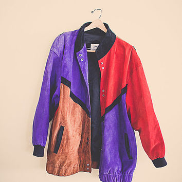 90's Brown Purple Red Suede Leather Coat Long Bomber Jacket  Lined Bohemian Boho  Size Women's Size Extra Large XL