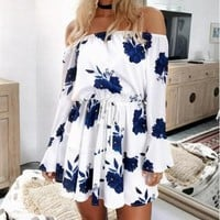 Women's Navy Floral Off the Shoulder Shift Dress with Drawstring Tie and Flare Skirt
