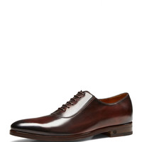 Leather Lace-Up Shoe, Cocoa - Gucci