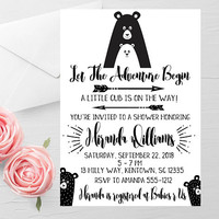 Adventure Baby Shower Invitation - Tribal Baby Shower Invitation - Gender Neutral Shower Invitation - Woodland Animals Shower - Scandinavian