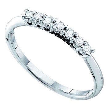 14kt White Gold Women's Round Pave-set Diamond Slender Wedding Band 1/5 Cttw - FREE Shipping (US/CAN)