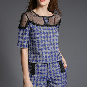 Houndstooth Short Sleeve Cropped Top Shorts Set with Mesh Lace Accent