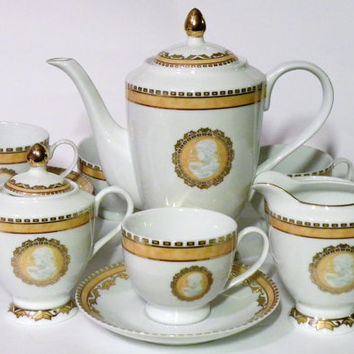 Antique German Tea set Gold Gild T. Bavaria 15x Pieces Gold Tri & Shop Bavaria Tea Set on Wanelo