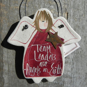 Team Leader Gift Salt Dough Angel Ornament
