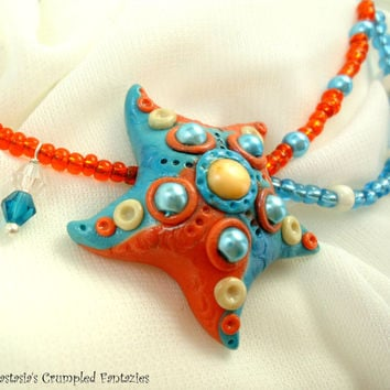 Orange blue polymer clay starfish necklace, Underwater creature pendant, Natural freshwater pearls glass faceted beads jewelry