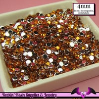 200 pcs 4mm ORANGE RHINESTONES Flatback Great Quality 16ss