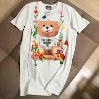 Moschino Fashion Women New Style Spring Summer Comfortable Swing Bear Print Short Sleeve Round Collar T-Shirt Dress Pullover Top I-G-JGYF