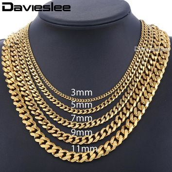 Davieslee Men's Chain Stainless Steel Necklace for Women Men Gold Color Curb Cuban Link Hiphop Jewelry DLKNM08